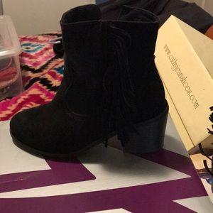 Lane Bryant Size 7W Black Suede Fringe Boots